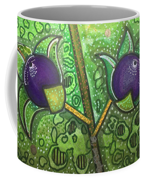 Deadly Nightshade Coffee Mug featuring the mixed media Bella Donna by Regina Jeffers