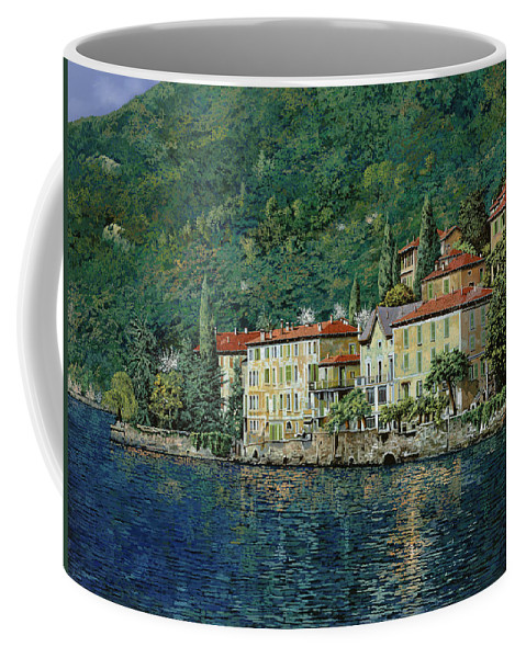 Landscape Coffee Mug featuring the painting Bellano On Lake Como by Guido Borelli