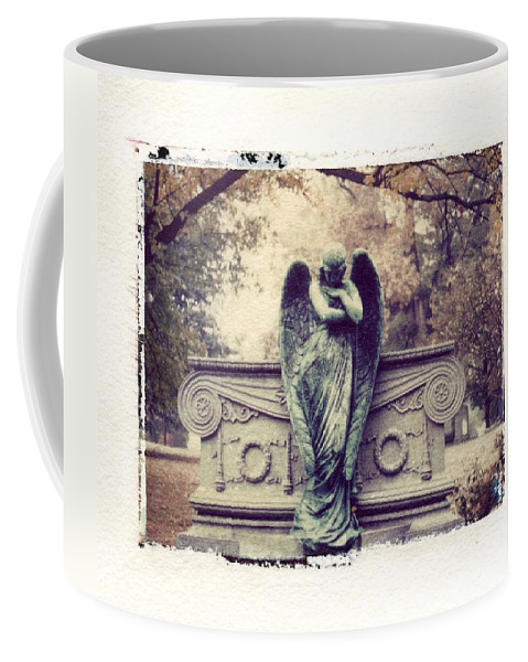 Bellefontain Angel Coffee Mug featuring the photograph Bellefontaine Angel Polaroid Transfer by Jane Linders