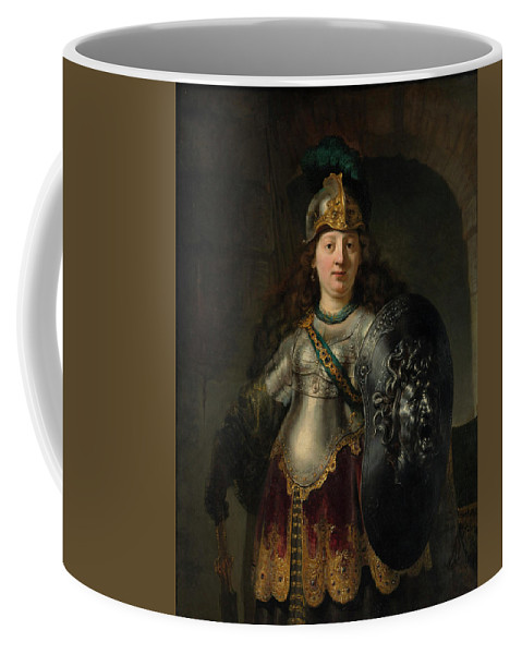 Bellona Coffee Mug featuring the painting Bellona by Rembrandt Harmenszoon van Rijn