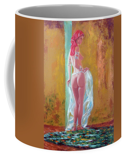 Women Nude Coffee Mug featuring the painting Belly Dancer 3 by Jose Manuel Abraham