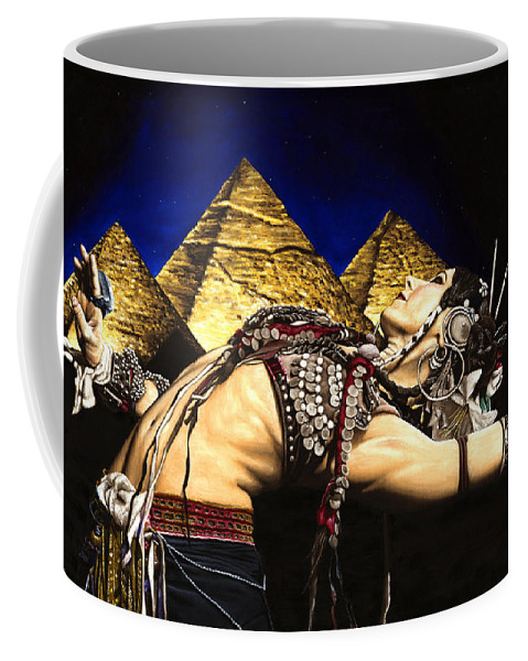 Bellydance Coffee Mug featuring the painting Bellydance Of The Pyramids - Rachel Brice by Richard Young