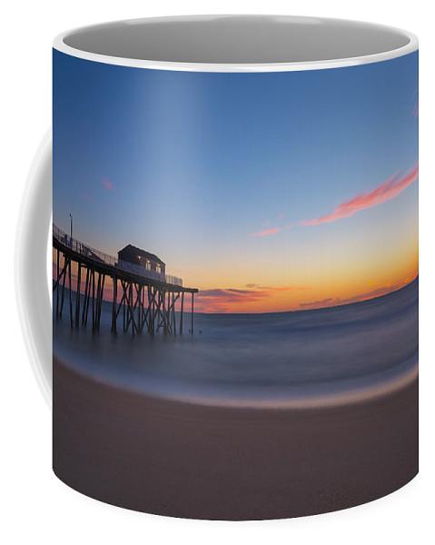 Fishing Pier Sunrise Coffee Mug featuring the photograph Belmar Fishing Pier Sunrise by Michael Ver Sprill