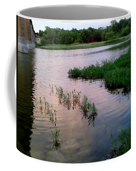 Water Coffee Mug featuring the photograph Below Lavon Dam by Cindy New
