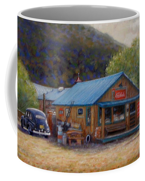 Realism Coffee Mug featuring the painting Below Taos 2 by Donelli DiMaria