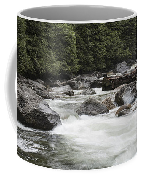 Waterfall Coffee Mug featuring the photograph Below The Torrent  by Rod Wiens