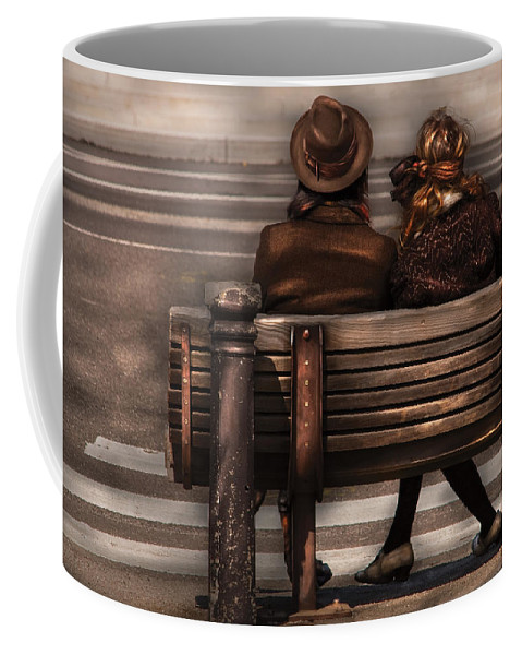 Steampunk Coffee Mug featuring the photograph Bench - A Couple Out Of Time by Mike Savad