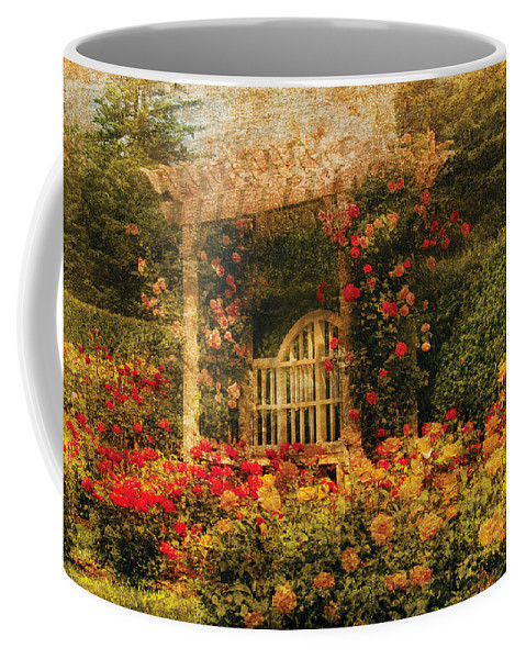 Roses Coffee Mug featuring the photograph Bench - The Rose Garden by Mike Savad