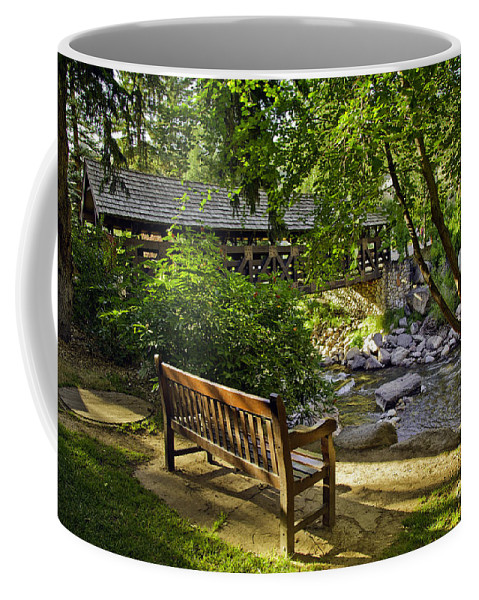 Bench Coffee Mug featuring the photograph Bench By The Stream IIi by Madeline Ellis