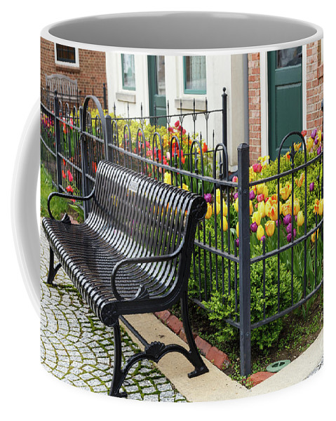 Windmill Coffee Mug featuring the photograph Bench By The Tulips by Terri Morris