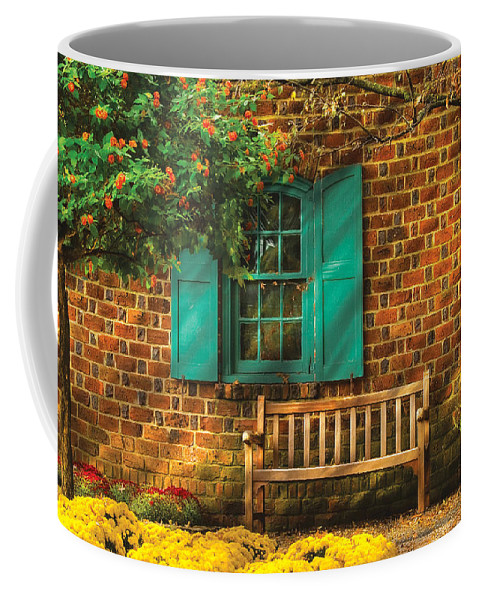 Savad Coffee Mug featuring the photograph Bench - Please Have A Seat by Mike Savad