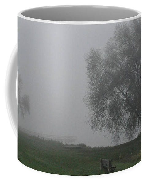 Fog Foggy Coffee Mug featuring the photograph Bench by Tim Nyberg