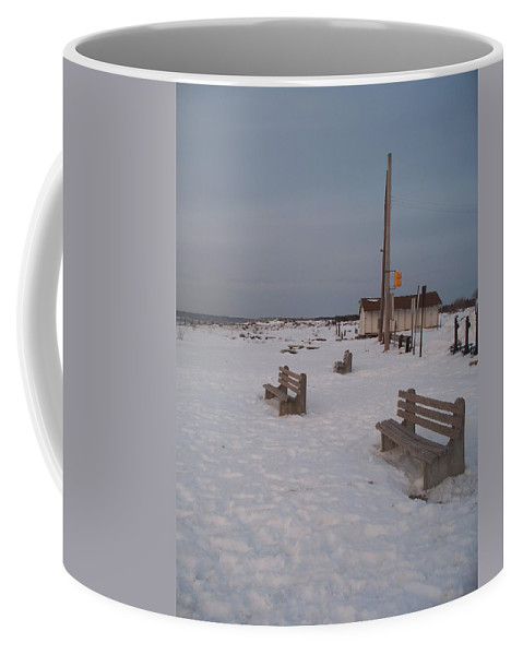 Benches Coffee Mug featuring the photograph Benches At Sunset Beach Nj by Eric Schiabor