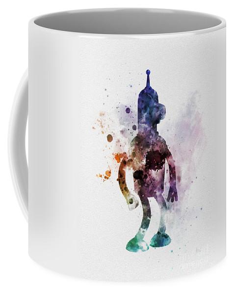 Futurama Coffee Mug featuring the mixed media Bender by Rebecca Jenkins