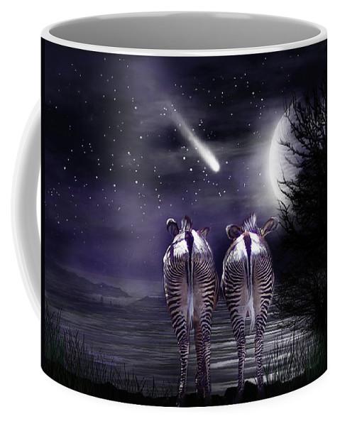Zebra Coffee Mug featuring the mixed media Beneath A Zebra Moon by Carol Cavalaris