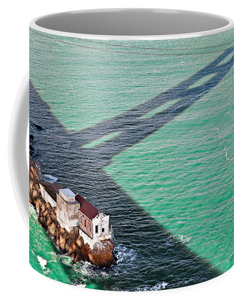 Golden Gate Bridge Coffee Mug featuring the photograph Beneath The Golden Gate by Dave Bowman