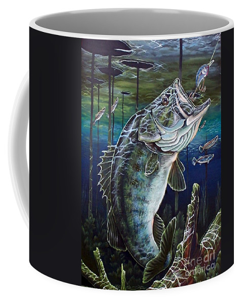 Bass Coffee Mug featuring the painting Beneath The Surface by Monica Turner