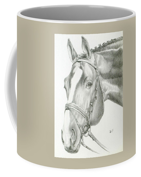 Equus Coffee Mug featuring the drawing Benign by Barbara Keith