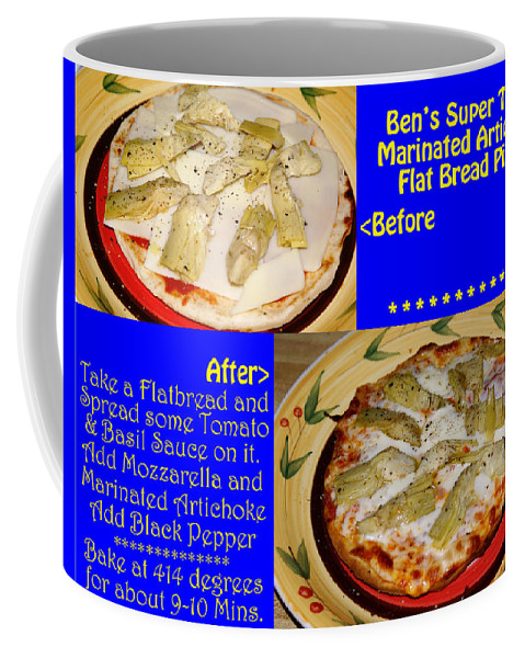 Food Coffee Mug featuring the photograph Ben's Super Tasty Marinated Artichoke Flat Bread Pizza by Ben Upham III