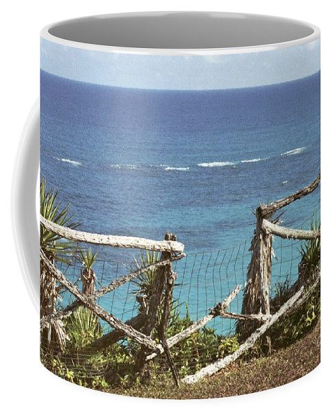 Bermuda Coffee Mug featuring the photograph Bermuda Fence And Ocean Overlook by Heather Kirk