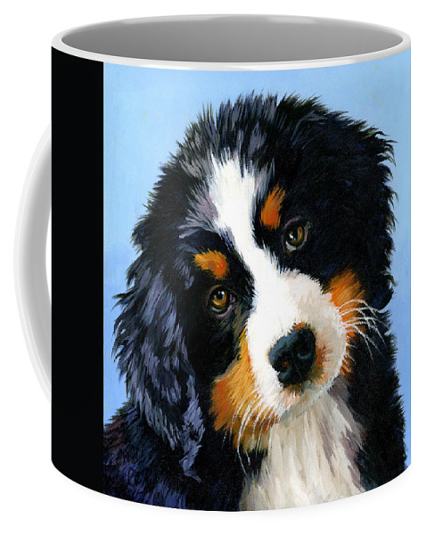 Dog Portrait Coffee Mug featuring the painting Bernese Mountain Puppy by Alice Leggett