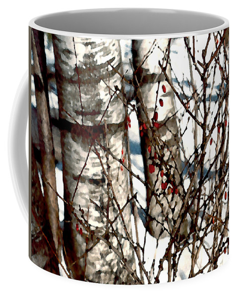 Trees Coffee Mug featuring the painting Berries And Birches by Paul Sachtleben