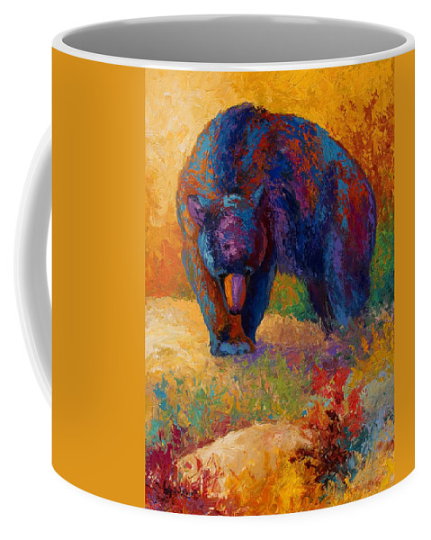 Bear Coffee Mug featuring the painting Berry Hunting by Marion Rose
