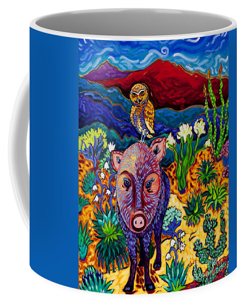 Javelina Coffee Mug featuring the painting Best Friends Forever by Cathy Carey