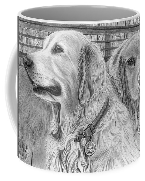 Dogs Coffee Mug featuring the drawing Best Friends by Gil Fong