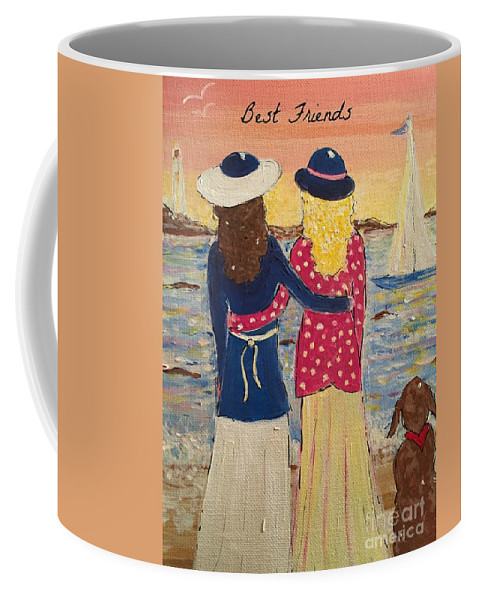 Best Friends Coffee Mug featuring the painting Best Friends by Jacqui Hawk