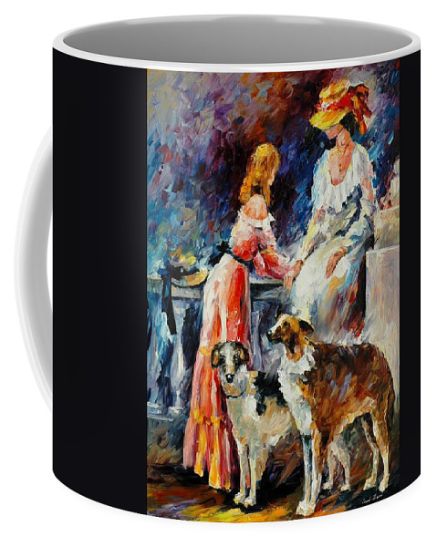 Afremov Coffee Mug featuring the painting Best Friends by Leonid Afremov