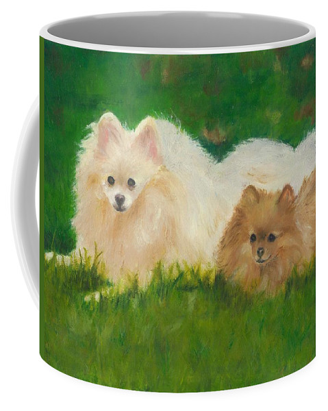 Dogs Coffee Mug featuring the painting Best Friends by Paula Emery