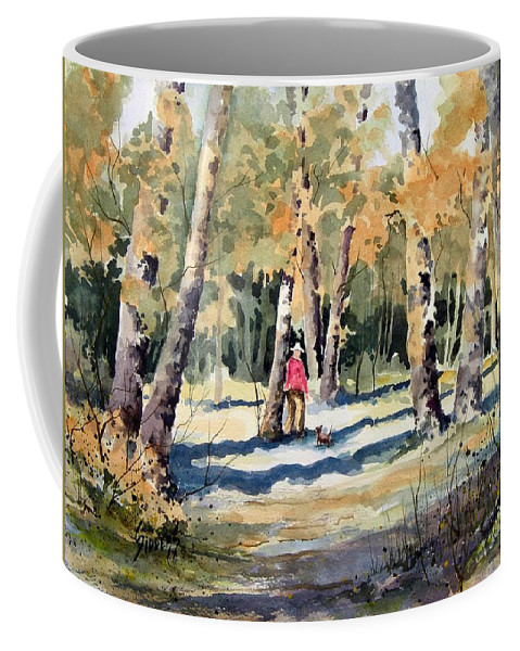Dog Coffee Mug featuring the painting Walking With A Friend by Sam Sidders