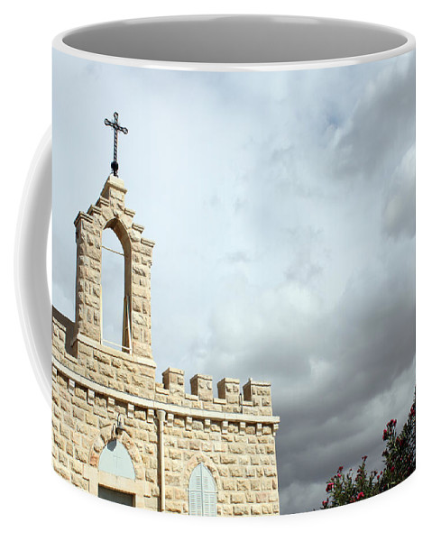 Bethlehem Coffee Mug featuring the photograph Bethlehem - Milk Grotto Cross by Munir Alawi