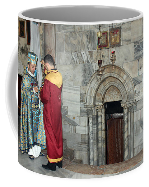 Armenian Coffee Mug featuring the photograph Bethlehem - Nativity Church - Preparation For Armenian Mass by Munir Alawi