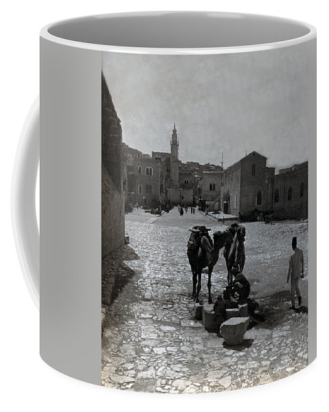 Bethlehem Coffee Mug featuring the photograph Bethlehem Street Scene 1911 by Munir Alawi