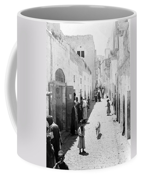 Bethlehem Coffee Mug featuring the photograph Bethlehem The Main Street 1800s by Munir Alawi