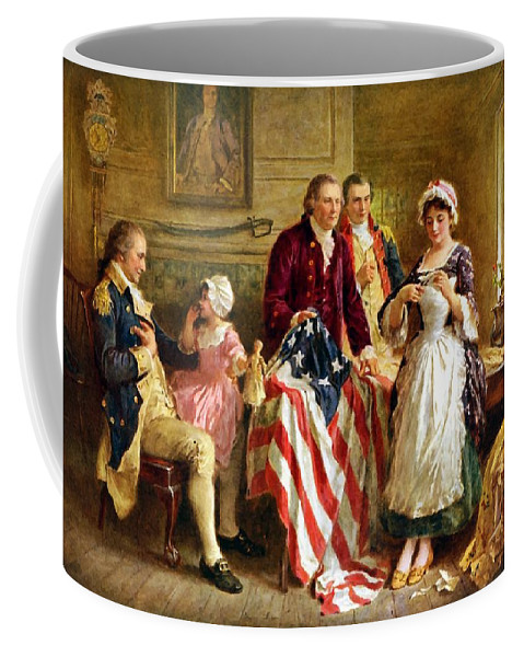George Washington Coffee Mug featuring the painting Betsy Ross And General George Washington by War Is Hell Store