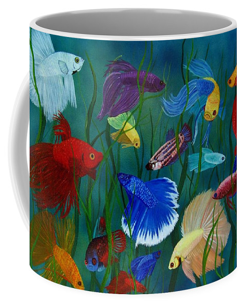 Siamese Fighting Fish Coffee Mug featuring the painting Bettas In Motion by Debbie LaFrance