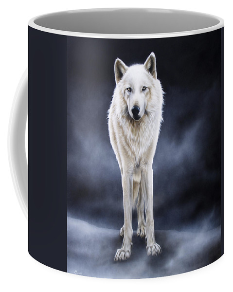 Arctic Coffee Mug featuring the painting 'between The White And The Black' by Sandi Baker