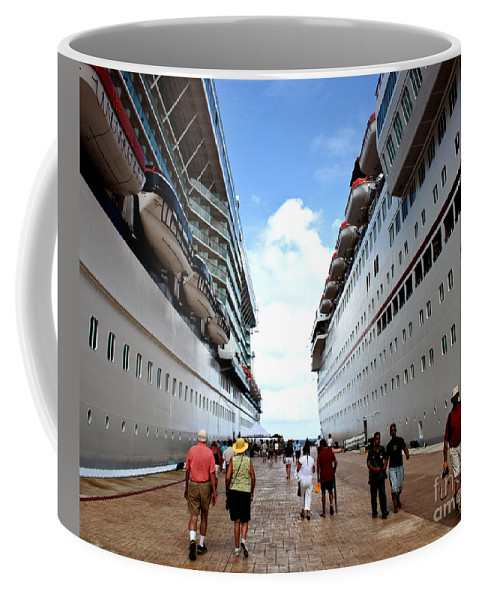 Carnival Coffee Mug featuring the photograph Beween Two Ships by Thomas Marchessault