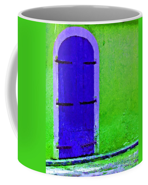 Door Coffee Mug featuring the photograph Beyond The Blue Door by Debbi Granruth