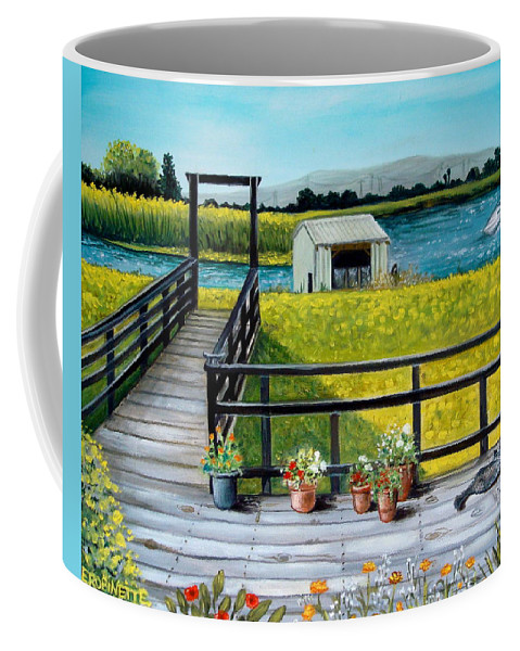 Landscape Coffee Mug featuring the painting Beyond The Levee by Elizabeth Robinette Tyndall