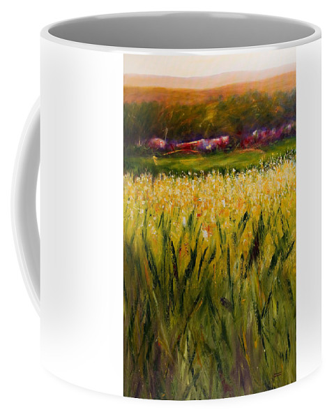 Landscape Coffee Mug featuring the painting Beyond The Valley by Shannon Grissom