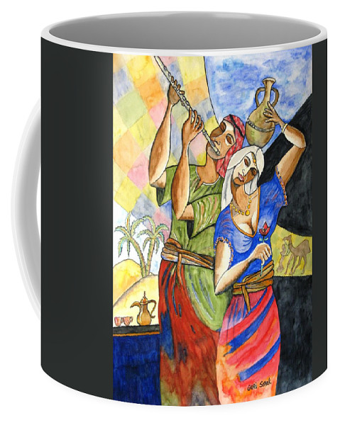 Watercolor Coffee Mug featuring the painting Biblical Story by Guri Stark