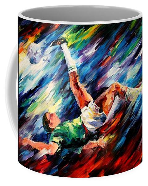 Afremov Coffee Mug featuring the painting Bicycle Kick by Leonid Afremov