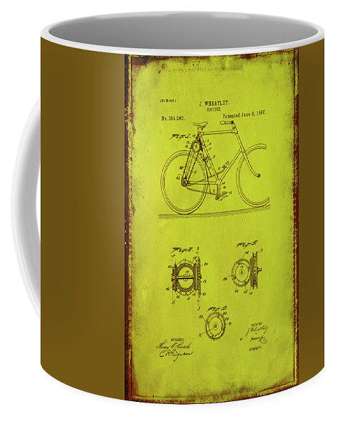 Patent Coffee Mug featuring the mixed media Bicycle Patent Drawing 4d by Brian Reaves