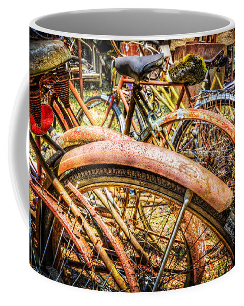 Appalachia Coffee Mug featuring the photograph Bicycles by Debra and Dave Vanderlaan