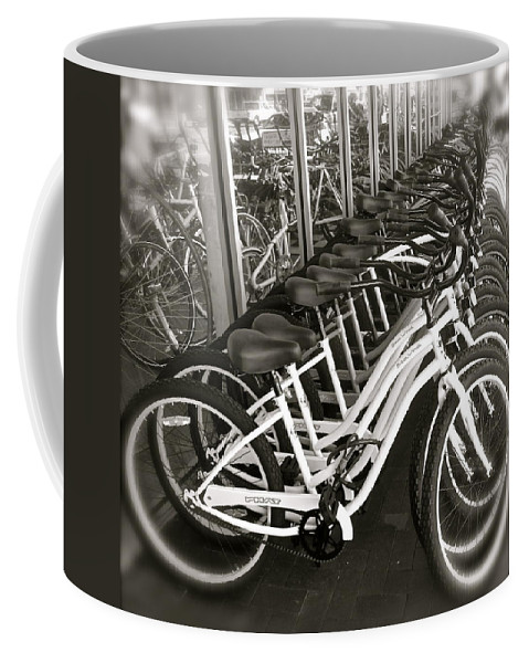 Bicycles Coffee Mug featuring the photograph Bicycles In Belmont Shore by Gwyn Newcombe