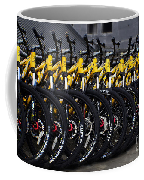 Bicycles Coffee Mug featuring the photograph Bicyles by Ben Yassa